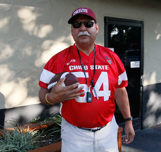 Chico State football  player Carlos Jacoba (1976), chief organizer of the annual football reunion Thursday July 20, 2017 at the Oasis Bar & Grill in Chico, California.   (Emily Bertolino -- Enterprise-Record)