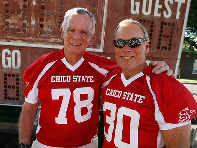 Chico State football  players Rick Steen (1963-1967) and Don Carlsen (1963-1967) where two of the four players that played for the team all four years Thursday July 20, 2017 at the Oasis Bar & Grill in Chico, California.   (Emily Bertolino -- Enterprise-Record)