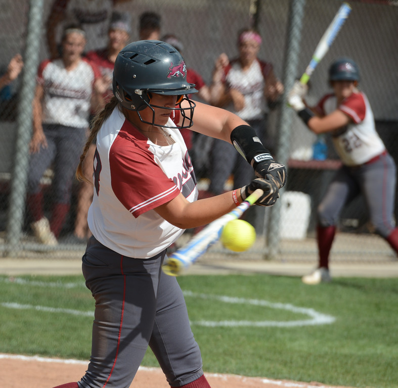 . Chico State\'s Karli Skowrups makes contact as the Wildcats  play Cal State San Bernardino on the first day of the 2017 NCAA West Regional Division II Softball Championship Tournament Thursday May 11, 2017 at he University Softball Field in Chico, California. (Emily Bertolino -- Enterprise-Record)