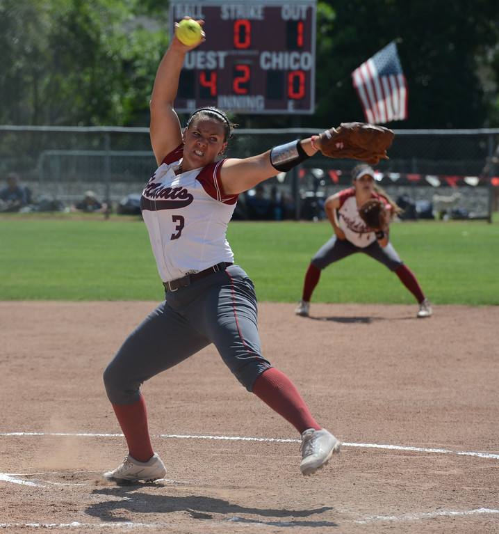 . Chico State\'s Haley Gilham pitches against Cal State San Bernardino on the first day of the 2017 NCAA West Regional Division II Softball Championship Tournament Thursday May 11, 2017 at he University Softball Field in Chico, California. (Emily Bertolino -- Enterprise-Record)