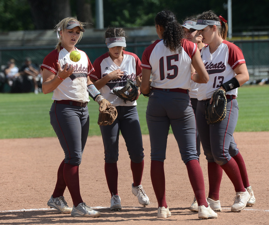 . Chico State\'s defense rallies at the pitchers mound as they play against Cal State San Bernardino on the first day of the 2017 NCAA West Regional Division II Softball Championship Tournament Thursday May 11, 2017 at he University Softball Field in Chico, California. (Emily Bertolino -- Enterprise-Record)