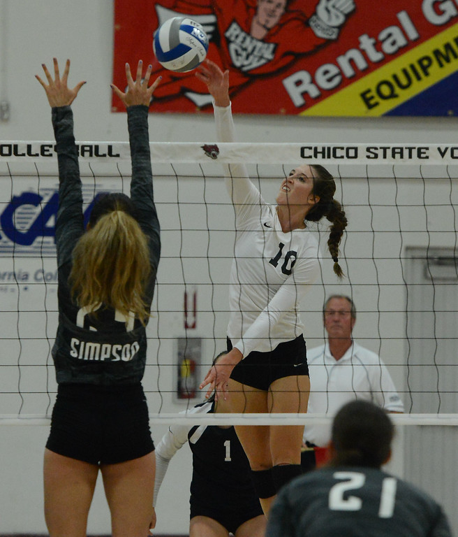 . Chico State volleyball hosts Simpson University Tuesday September 12, 2017 at CSUC in Chico, California. (Emily Bertolino -- Enterprise-Record)