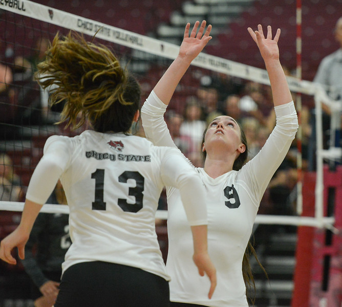 Chico State volleyball hosts Simpson University Tuesday September 12, 2017 at CSUC in Chico, California. (Emily Bertolino -- Enterprise-Record)