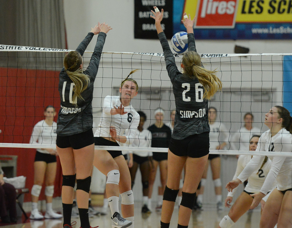 Chico State's  volleyball hosts Simpson University Tuesday September 12, 2017 at CSUC in Chico, California. (Emily Bertolino -- Enterprise-Record)