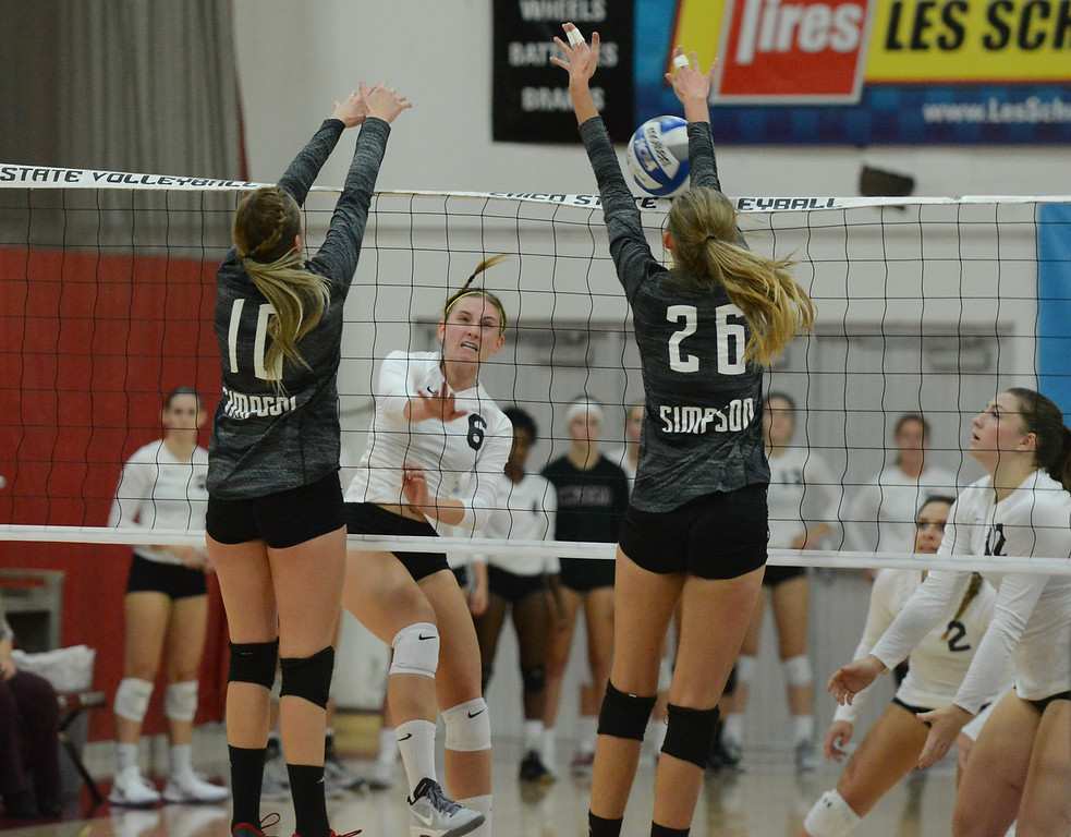 . Chico State\'s  volleyball hosts Simpson University Tuesday September 12, 2017 at CSUC in Chico, California. (Emily Bertolino -- Enterprise-Record)