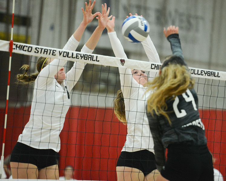 Chico State's Anna Baytosh and Makaela Keeve work to block Simpson University's Diean Manu's spike Tuesday September 12, 2017 at CSUC in Chico, California. (Emily Bertolino -- Enterprise-Record)