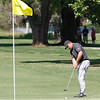 Serge Kiriluk putts from the fringe on the 16th hole as the Chico State mens golf team faces Cal State Monterey Bay in match play Wednesday, April 25, 2018, for the California Collegiate Athletic Association championship at the Butte Creek Country Club in Chico, California. (Dan Reidel -- Enterprise-Record)