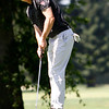 Kelley Sullivan watches the bal roll toward the hole as the Chico State mens golf team faces Cal State Monterey Bay in match play Wednesday, April 25, 2018, for the California Collegiate Athletic Association championship at the Butte Creek Country Club in Chico, California. (Dan Reidel -- Enterprise-Record)