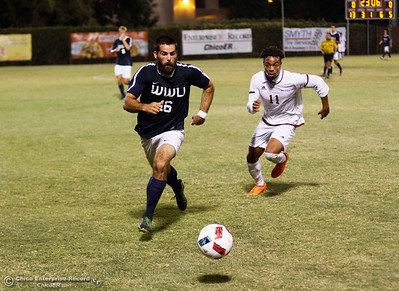Chico State's Rajaee DeLane races after the ball as Western Washington Viking's Brady Ulen works to cut him off during a soccer game September 1, 2016 at California State University in Chico, Calif. Wester Washington went on to defeat the Chico State Wildcats 1-0. (Emily Bertolino -- Enterprise-Record)