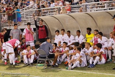 Fourth year head coach Greg Brison talks strategy with the Chico State Wildcats during halftime September 1, 2016 at California State University in Chico, Calif. The Chico State boys soccer fell 1-0 to the Western Washington Vikings in the second.  (Emily Bertolino -- Enterprise-Record)