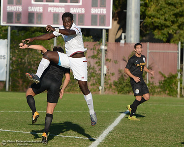 Chico State's Jeremiah Egujie gains possession of the ball to help score his second goal against Cal State Los Angeles Thursday October 31, 2017 in Chico, California. (Emily Bertolino -- Enterprise-Record)