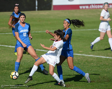 Chico State's Lia Kilgore reaches in to steal the ball away from Cal State San Marcos's Channel Felix Thursday October 31, 2017 in Chico, California. (Emily Bertolino -- Enterprise-Record)
