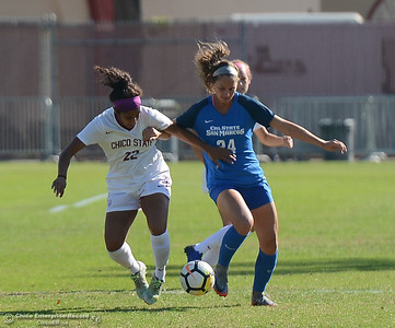 Chico State's Pooja Patel (22) and Can State San Marcos's Megan Perunder (24) battle for the ball Thursday October 31, 2017 in Chico, California. (Emily Bertolino -- Enterprise-Record)