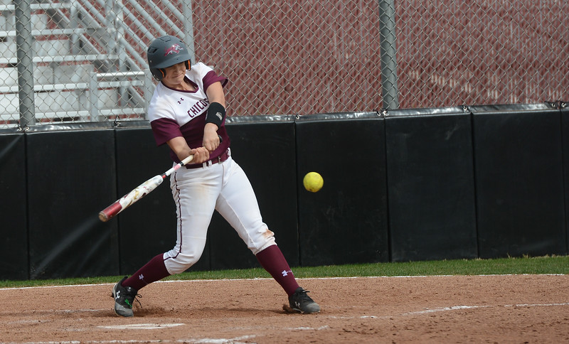 Chico State's Bailey Akins hits the ball, Friday, March 9, 2018, in Chico, California. (Carin Dorghalli -- Enterprise-Record)