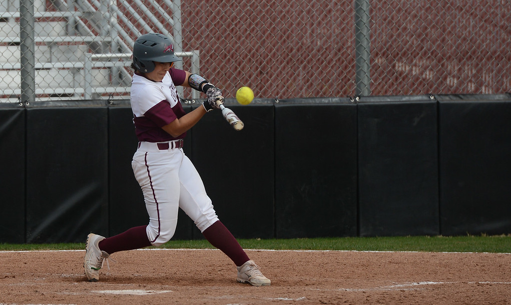 . Chico State\'s Angel Lopez hits the ball, Friday, March 9, 2018, in Chico, California. (Carin Dorghalli -- Enterprise-Record)
