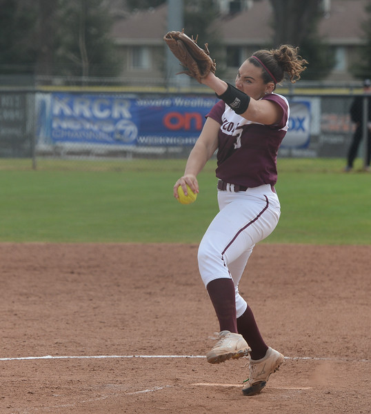 Chico State's Haley Gilham pitches the ball during their game against Monterey State, Friday, March 9, 2018, in Chico, California. (Carin Dorghalli -- Enterprise-Record)