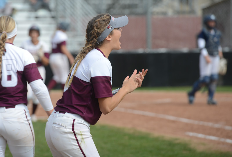 Chico State's Megan Bowley cheers her teammates on, Friday, March 9, 2018, in Chico, California. (Carin Dorghalli -- Enterprise-Record)
