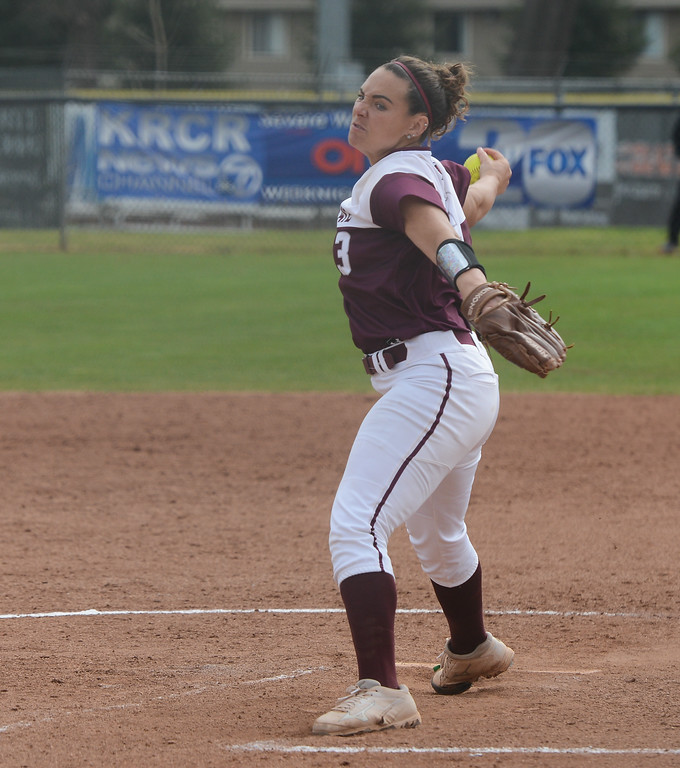 . Chico State\'s Haley Gilham pitches the ball during their game against Monterey State, Friday, March 9, 2018, in Chico, California. (Carin Dorghalli -- Enterprise-Record)