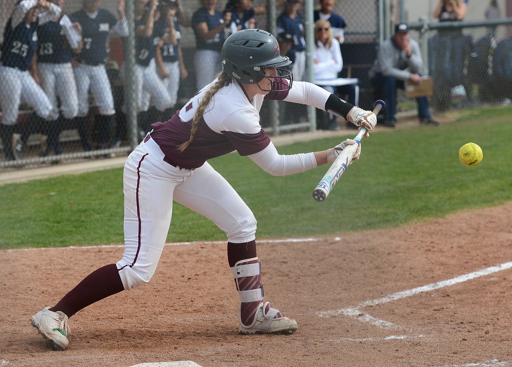 . Chico State\'s Karli Skowrup attempts to bunt the ball, Friday, March 9, 2018, in Chico, California. (Carin Dorghalli -- Enterprise-Record)
