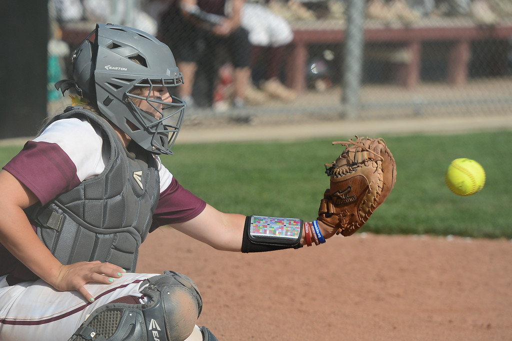 . Chico State\'s Claire Wayne catches the ball during a home game against Northwest Nazarene softball, May 10, 2018,  in Chico, California. (Carin Dorghalli -- Enterprise-Record)