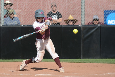Chico State's Wendy Caridinali hits the ball during a home game against Northwest Nazarene softball, May 10, 2018,  in Chico, California. (Carin Dorghalli -- Enterprise-Record)