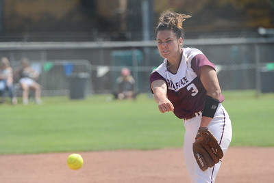 Chico State' Haley Gilham pitches the ball during a home game against Northwest Nazarene, May 10, 2018,  in Chico, California. (Carin Dorghalli -- Enterprise-Record)
