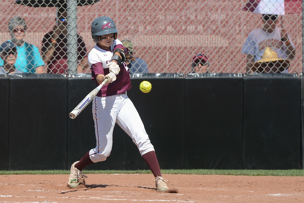 . Chico State\'s Kristin Worley hits the ball during a home game against Northwest Nazarene, May 10, 2018,  in Chico, California. (Carin Dorghalli -- Enterprise-Record)
