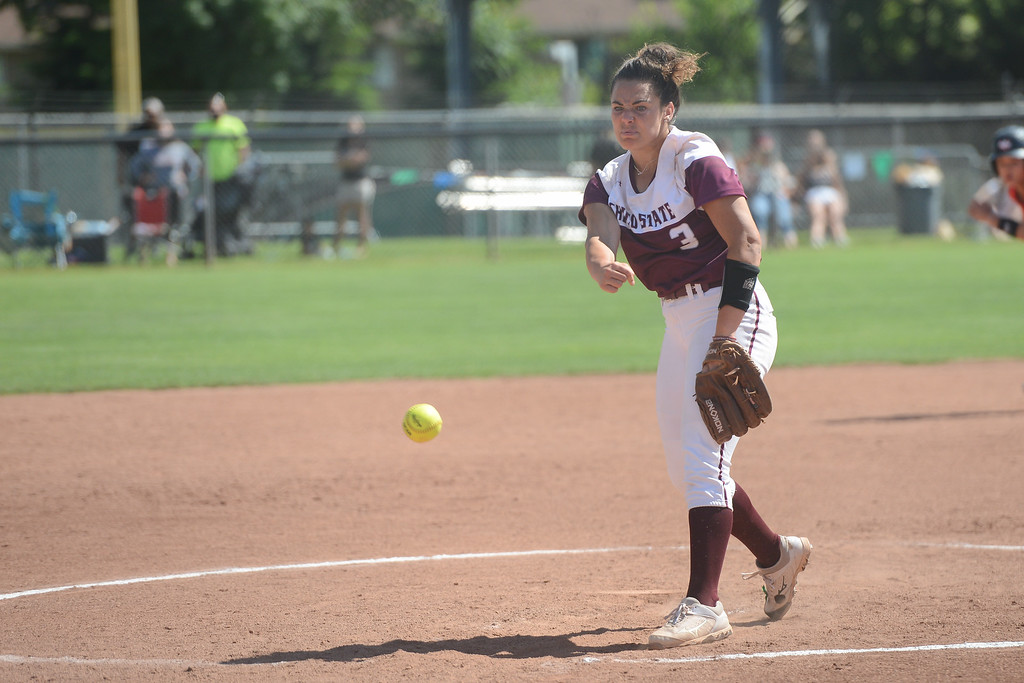 . Chico State\' Haley Gilham pitches the ball during a home game against Northwest Nazarene, May 10, 2018,  in Chico, California. (Carin Dorghalli -- Enterprise-Record)