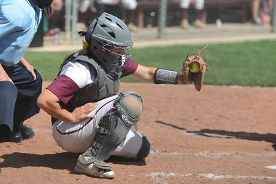 Chico State's Claire Wayne catches the ball during a home game against Northwest Nazarene, May 10, 2018,  in Chico, California. (Carin Dorghalli -- Enterprise-Record)