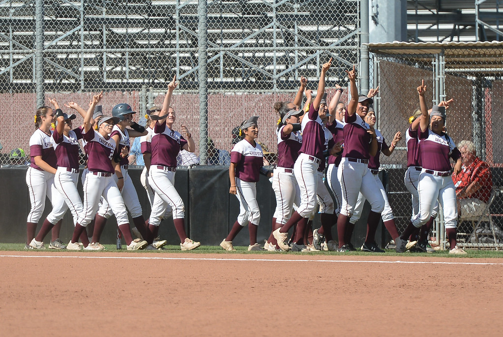 . Chico State\'s softball team celebrates as Claire Wayne hits a homerun during a home game against Northwest Nazarene, May 10, 2018,  in Chico, California. (Carin Dorghalli -- Enterprise-Record)