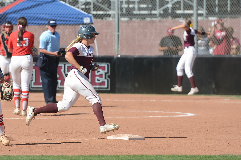 . Chico State\'s Claire Wayne hits a homerun during a home game against Northwest Nazarene, May 10, 2018,  in Chico, California. (Carin Dorghalli -- Enterprise-Record)