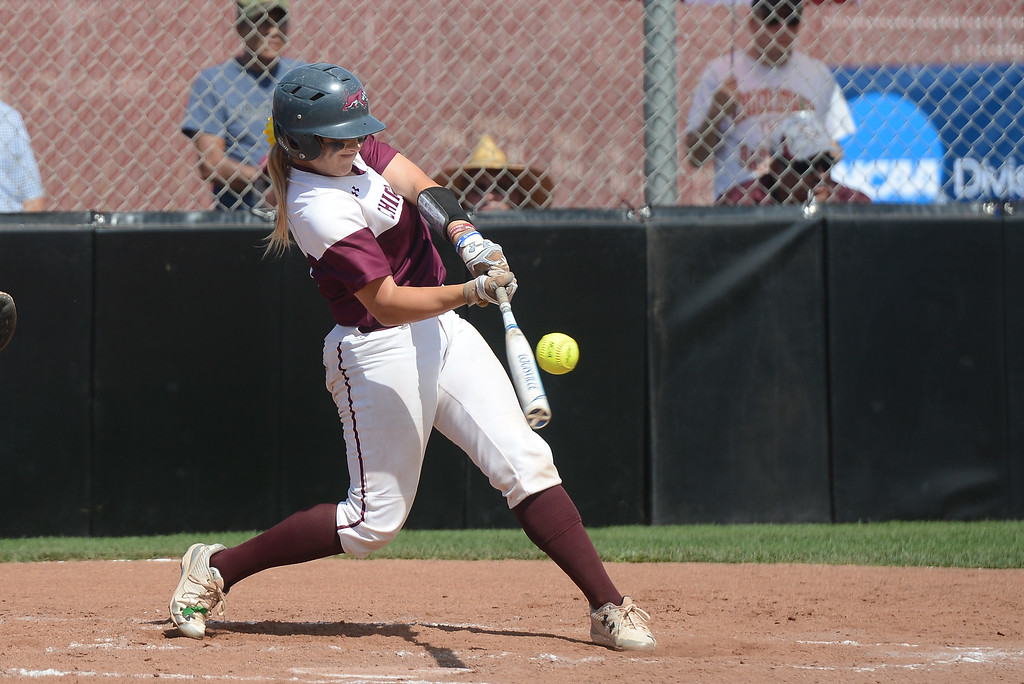 . Chico State\'s Claire Wayne hits the ball during a home game against Northwest Nazarene, May 10, 2018,  in Chico, California. (Carin Dorghalli -- Enterprise-Record)