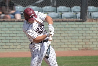 Chico State's Alex DeVito hits the ball,  May 4, 2018,  in Chico, California. (Carin Dorghalli -- Enterprise-Record)