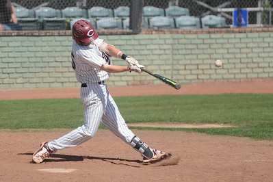 Chico State's Turner Olson hits the ball, May 4, 2018,  in Chico, California. (Carin Dorghalli -- Enterprise-Record)