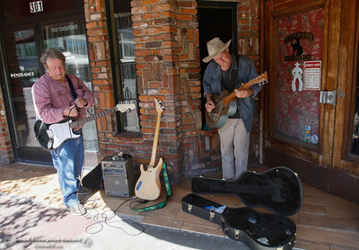 Robert Thompson and John Downn prepare to serenade the streets with they music Tuesday April 5, 2016 in Chico, Calif. (Emily Bertolino -- Enterprise-Record)