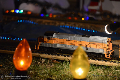 The Christmas light display Wednesday, Dec. 12, 2018, at the Tiffany home on the 500 block of Cimarron Drive has a train from the collection of the late Don Corrie. The family home is one of many on the 2018 Chico Tour of Lights in Chico, California. (Dan Reidel -- Enterprise-Record)