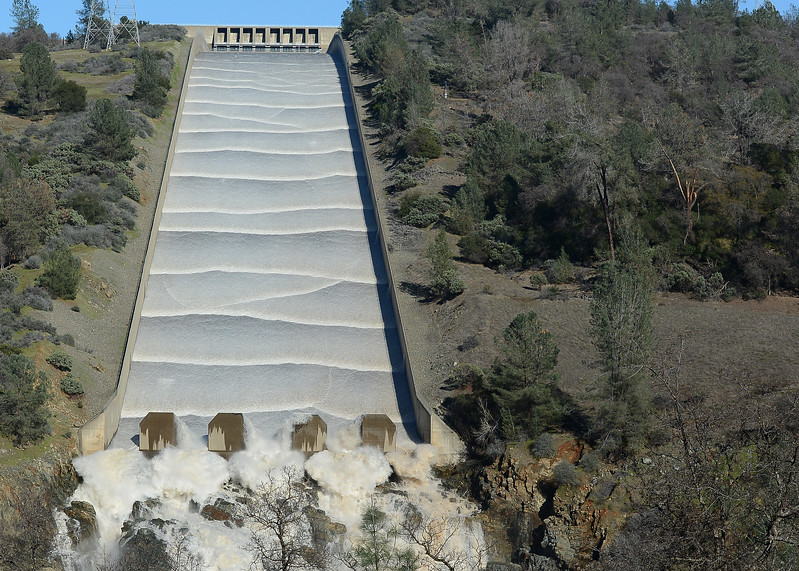 Water flows Friday, Jan. 13, 2017, down the Lake Oroville dam spillway in Oroville, California. (Dan Reidel -- Mercury-Register)