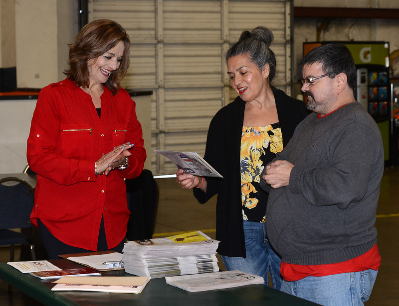 Each month, the Hispanic Chamber of Commerce of Northern California meets at various business locations to allow local business people to network. Left to right, Maria Shahid, Herlinda Rodriguez and Victor Garcia mingle before the Jan. 11, 2017, meeting at Off the Wall Soccer in Chico, California. (Dan Reidel -- Enterprise-Record)