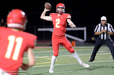 Chico QB Ty Thomas looks to throw to Abe Del Real on this play during PV vs Shasta High Football at University Stadim in Chico, Calif. Friday Sept. 28, 2018.  (Bill Husa -- Enterprise-Record)