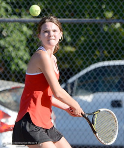 Amanda Bestor battles PV's Bailey Lange during Chico vs Pleasant Valley High School tennis at Chico High in Chico, Calif. Tues. Sept. 25, 2018. (Bill Husa -- Enterprise-Record)