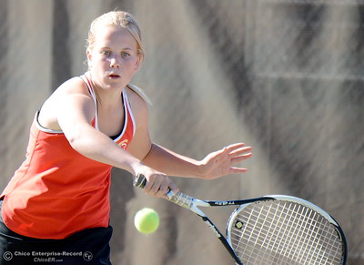 Chico's Camille Cross battles PV's Keely Taylor during Chico vs Pleasant Valley High School tennis at Chico High in Chico, Calif. Tues. Sept. 25, 2018. (Bill Husa -- Enterprise-Record)
