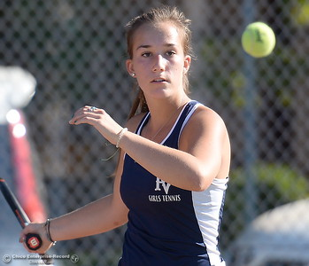 PV's Sydney Mt. Joy battles Chico's Ally Richelieu during Chico vs Pleasant Valley High School tennis at Chico High in Chico, Calif. Tues. Sept. 25, 2018. (Bill Husa -- Enterprise-Record)