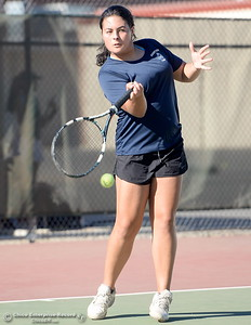 PV's Christina Wattenburg battles Chico's Olivia Zepeda during Chico vs Pleasant Valley High School tennis at Chico High in Chico, Calif. Tues. Sept. 25, 2018. (Bill Husa -- Enterprise-Record)