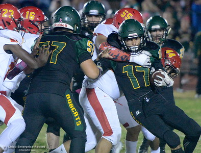 Paradise's Jacob Weldon (17) is wrapped up by Chico's Mateo Calvillo (55) in traffic during Paradsise vs Chico football at Paradise High Friday, Oct. 5, 2018.   (Bill Husa -- Enterprise-Record)