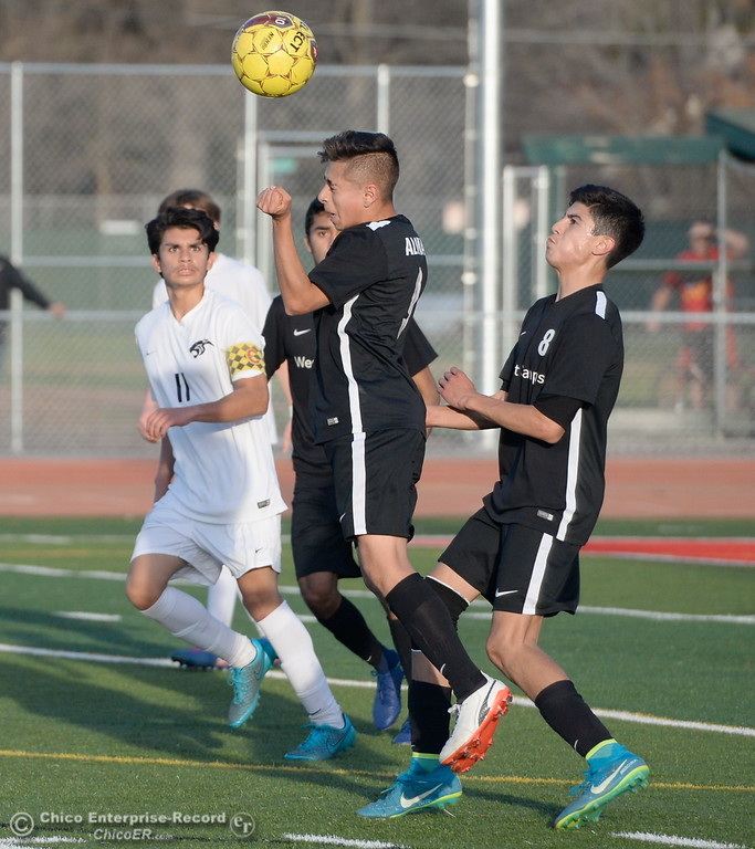 . during the first round of the NorCal state playoffs Chico High vs West Campus boys soccer at Chico, Tues. March 6, 2018. (Bill Husa -- Enterprise-Record)