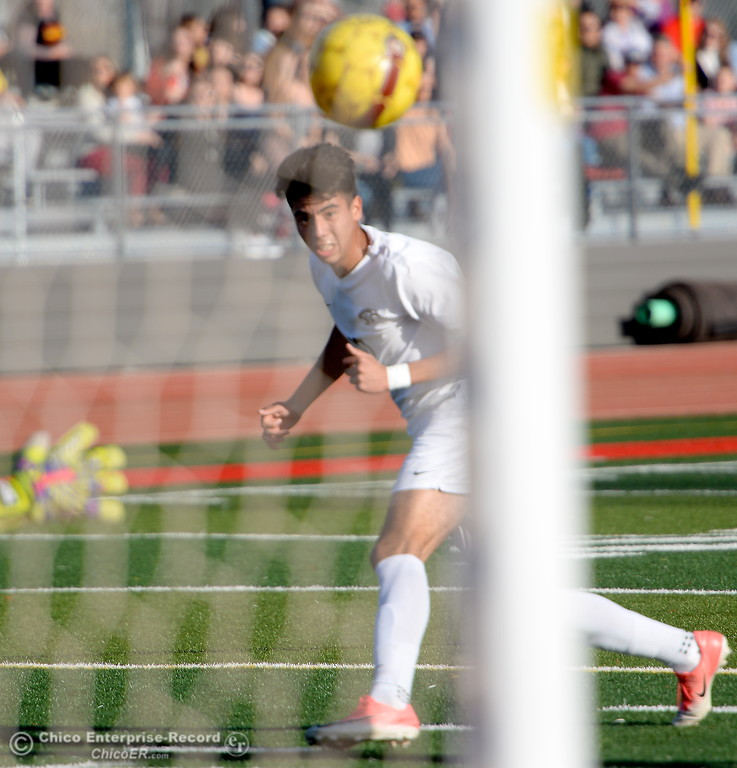 . Chico #10 Juean Tejada scores on this shot during the first round of the NorCal state playoffs Chico High vs West Campus boys soccer at Chico, Tues. March 6, 2018. (Bill Husa -- Enterprise-Record)