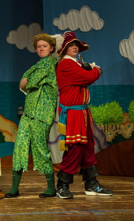 P&W JP: Peter Pan (Sharon Hurley) and Captain Hook (Laramie Hess) at an impasse.