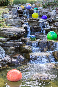 Cascades With Chihuly Glass At Meijer Gardens