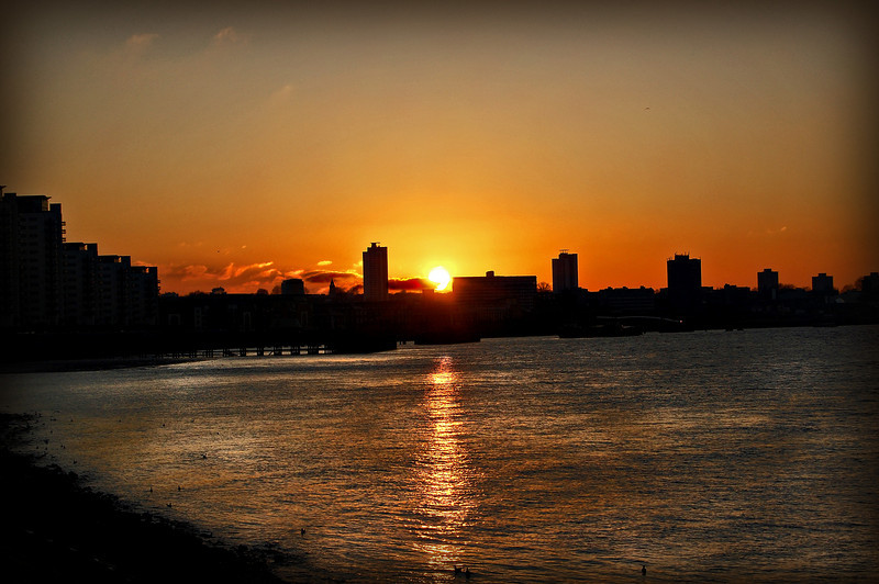Sun sets behind Woolwich
