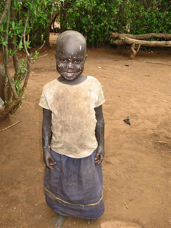 Karamajong Girl with White Paint on Face